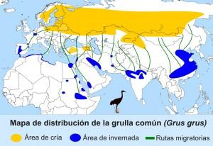 Distribución geograficade la grulla común