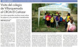 Artículo de la sección de La Pizarra del Diario de Teruel sobre la visita del colegio de Villarquemado